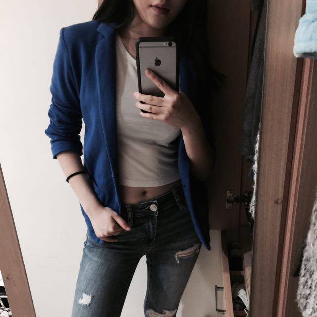 H&M 超柔軟舒適寶藍西裝外套