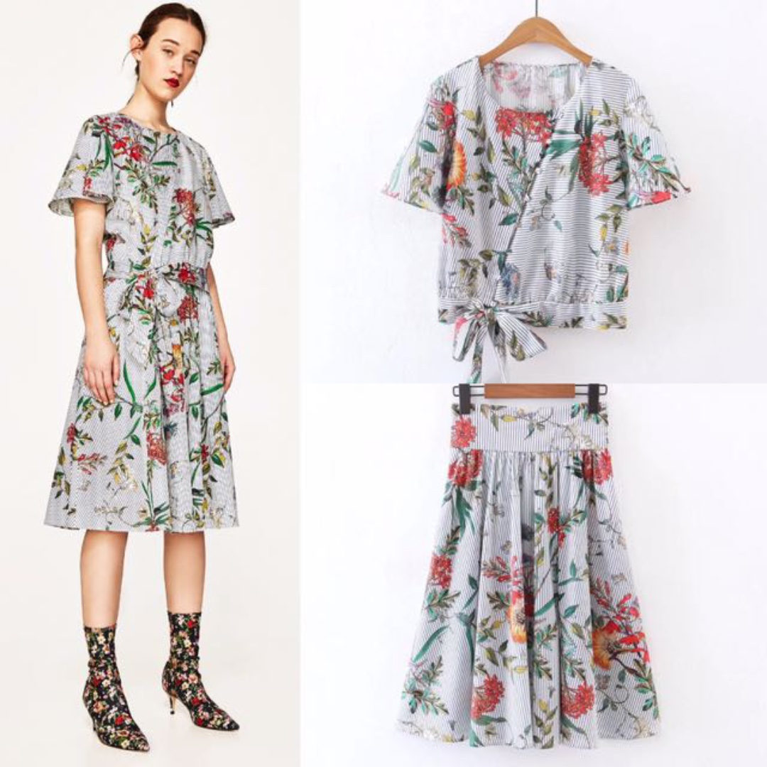 9f24b0cf6e Inspired Zara Striped With Floral TOP And Flora Skirt Suit Set, Women's  Fashion, Clothes, Dresses & Skirts on Carousell