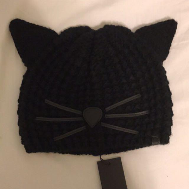 Karl lagerfeld 卡爾拉格斐 黑色貓咪帽 老佛爺karl帽
