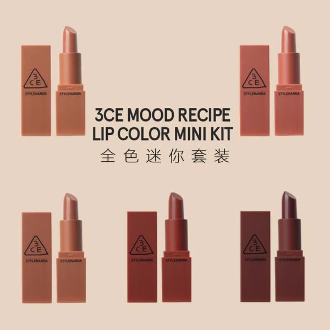 Korea3ce Mood Recipe Lip Colour Mini Kits Lipsticks Health Lipstick 3ce Beauty Makeup On Carousell