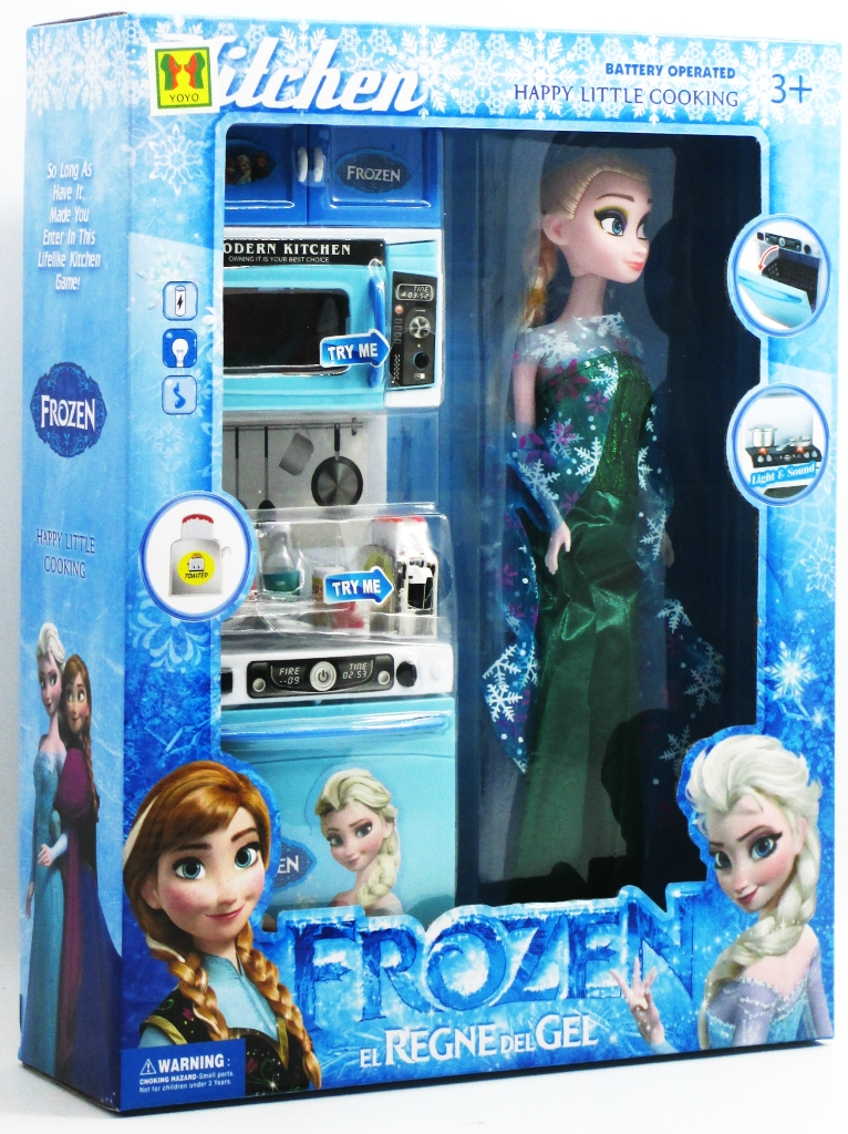 Mainan Anak Modern Kitchen Set Frozen Stove With Doll Babies Kids