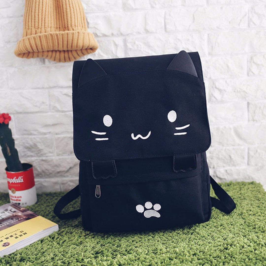 Meow Black Cat Canvas Backpack