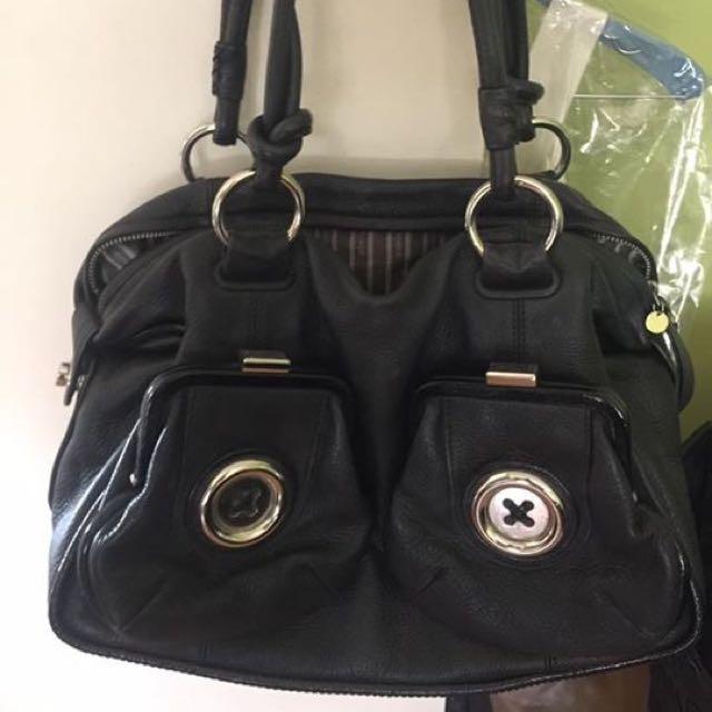 Mimco Button Bag Silver Hardware