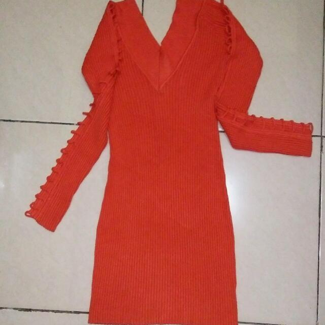 Orange Dress Rajut