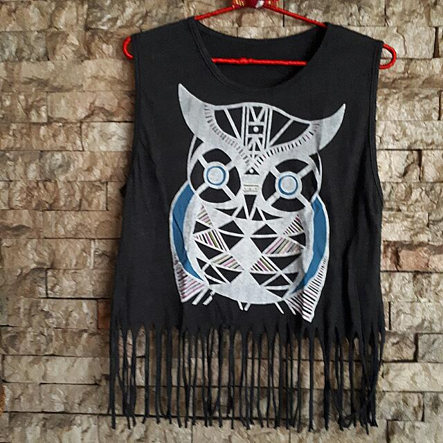 Owl Muscle Tank With Fringes