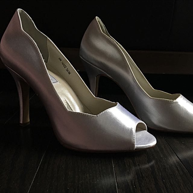 Peep toe White Satin Heel