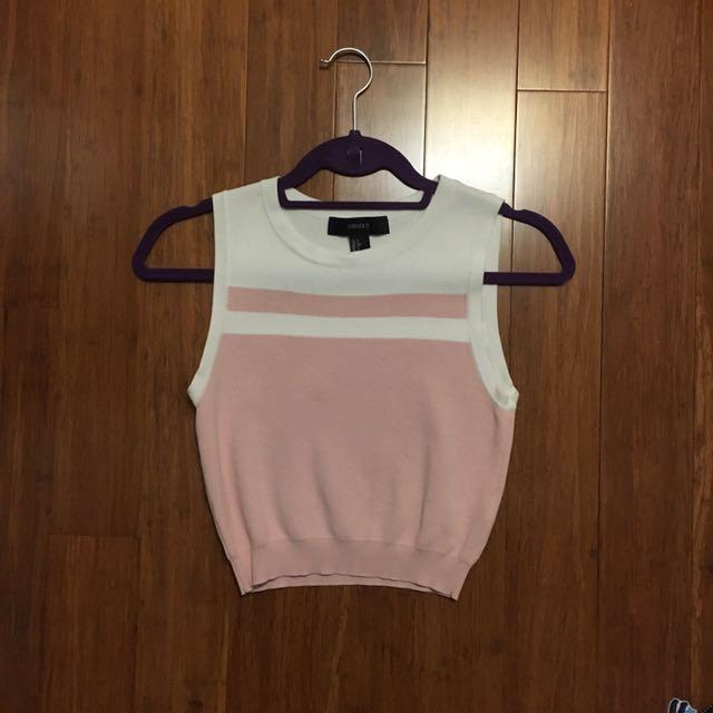 Pink Cropped Knit Tank