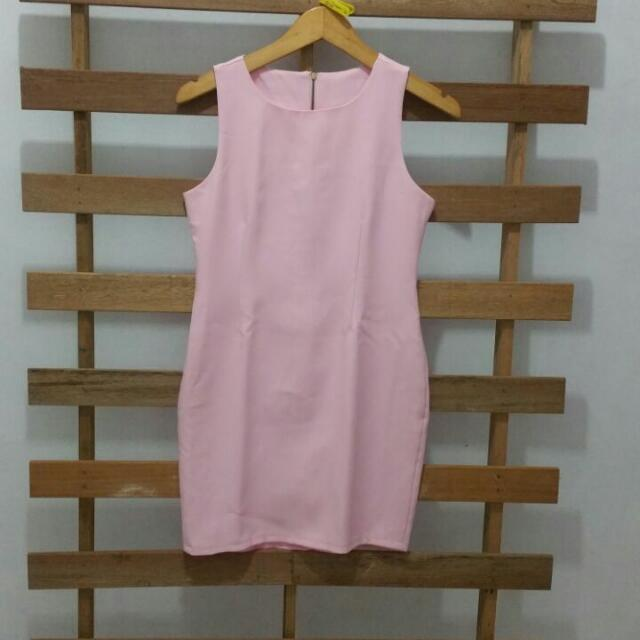 Pink Plain Formal Dress