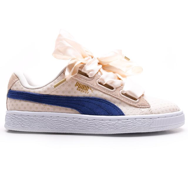 buy popular 51bdf 54680 BNIB Puma Basket Heart Denim Oatmeal, Women's Fashion, Shoes ...