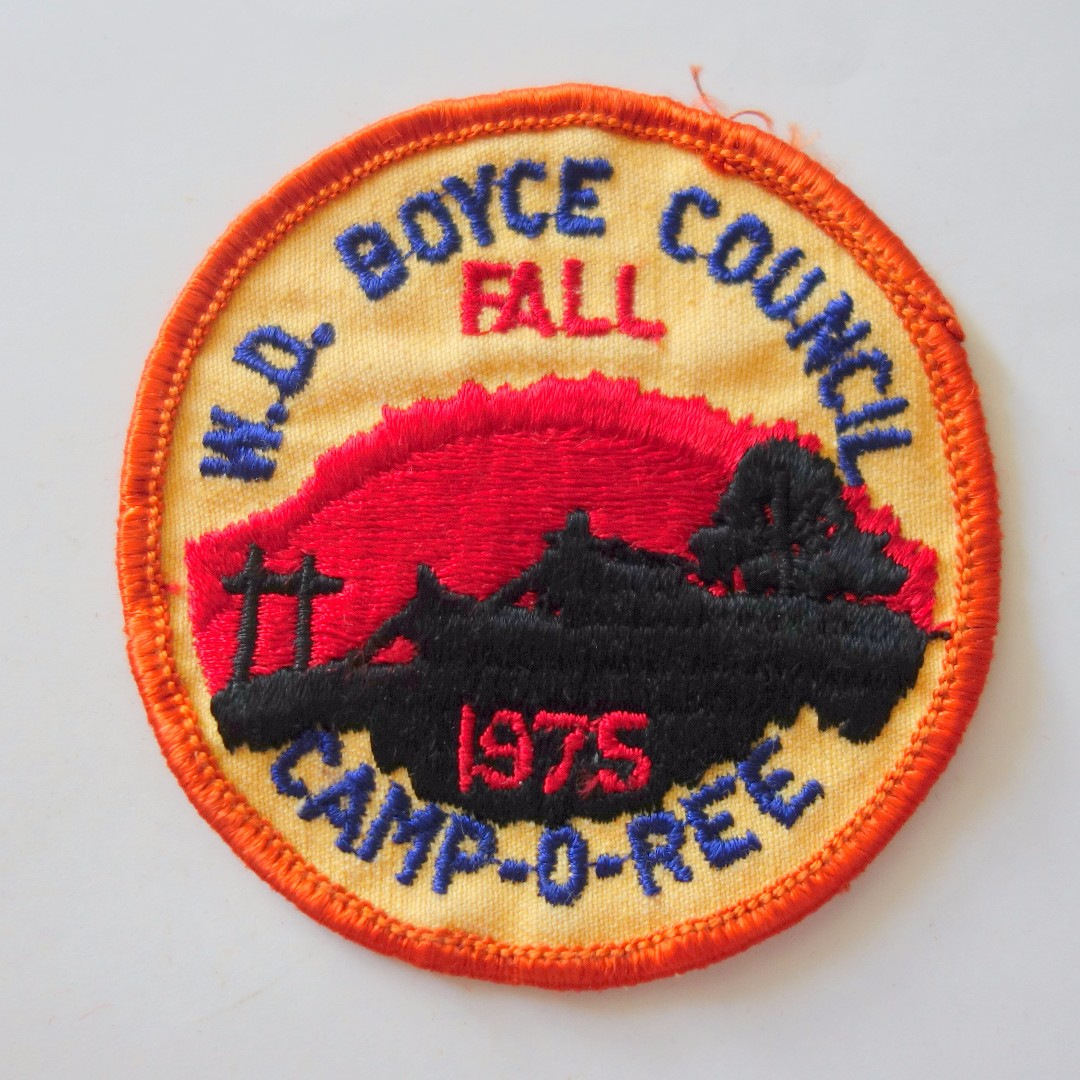 Retro 1980's Scout Badges, Rare Military Patches, Vintage Collectibles,  W D  Boyce Council, Fall 1975, Camp-O-Ree, from USA, Limited Edition