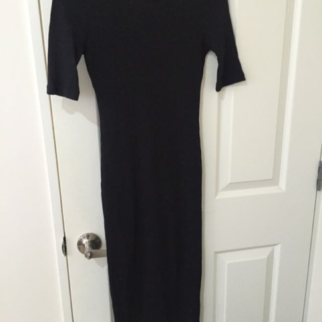 Ribbed Black Midi Dress