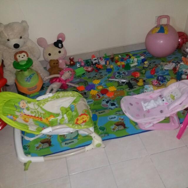 Rocker, Bather, Toys, Chair, Soft Toys Etc..