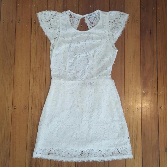 Showpo White Lace Dress Size 8