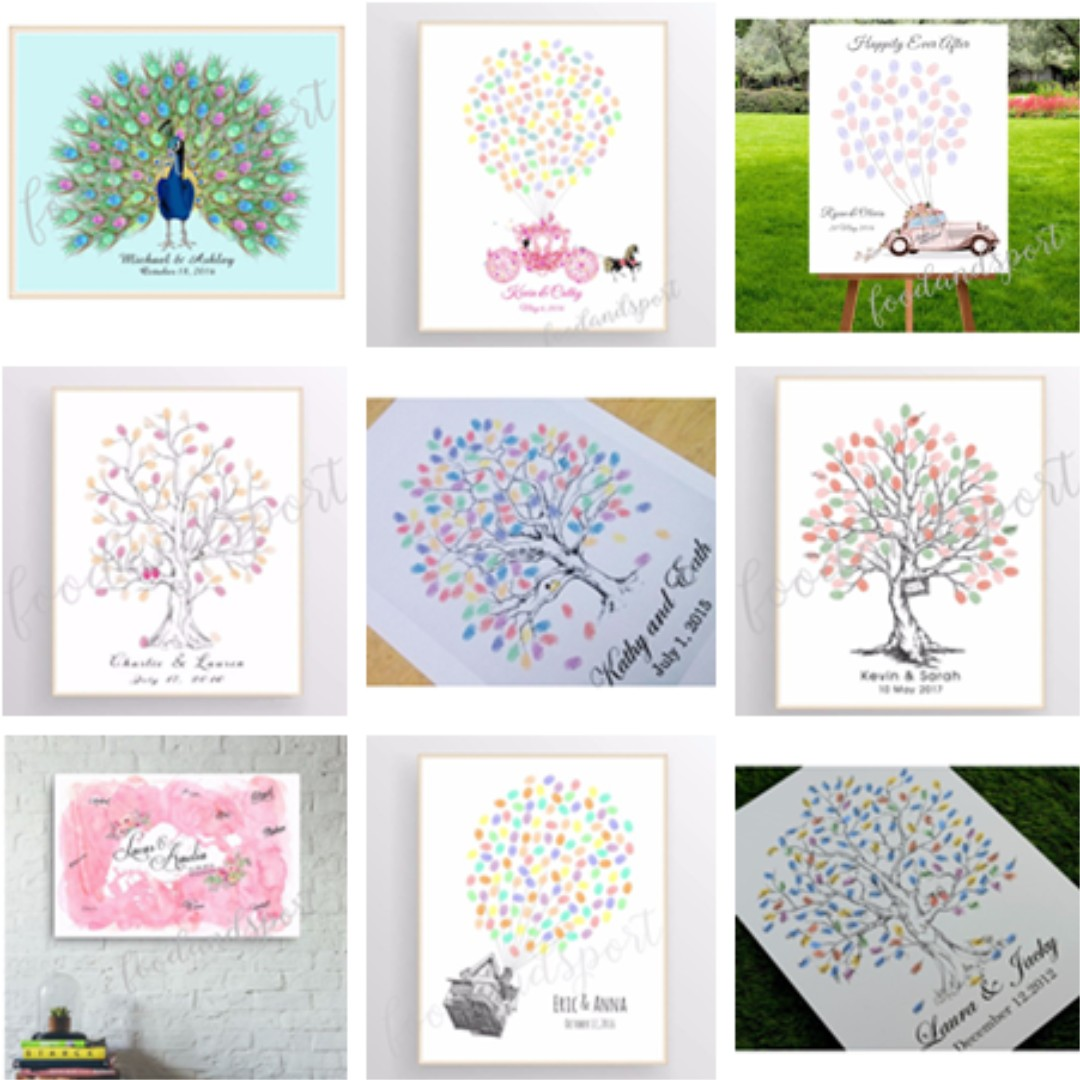 Wedding Guestbook Thumprint Tree Canvas A Great Wedding: Thumbprint / Signature Wedding Tree Canvas Poster