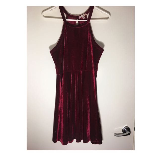 Velvet Halter Neck Evening Dress