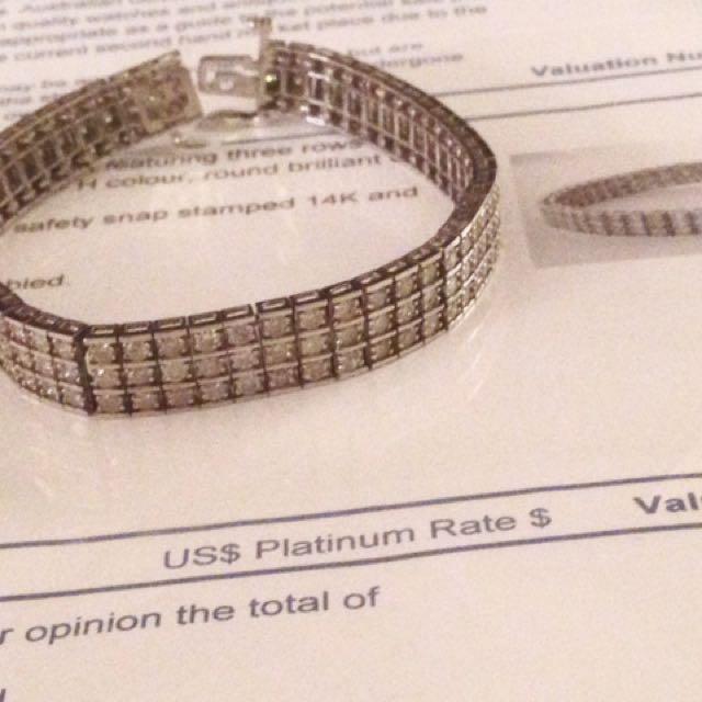 White Gold Triple Row Diamonds Tennis Bracelet