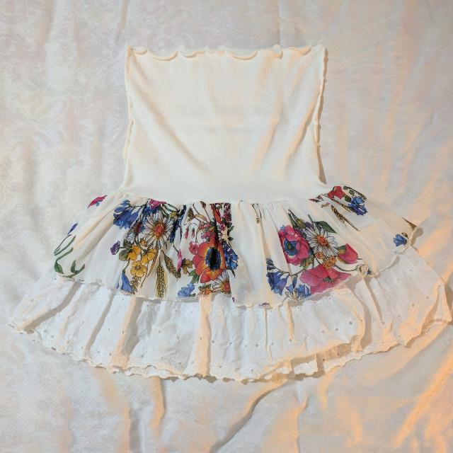 White Skirt With Floral Lace Overlay (Size XS - S)