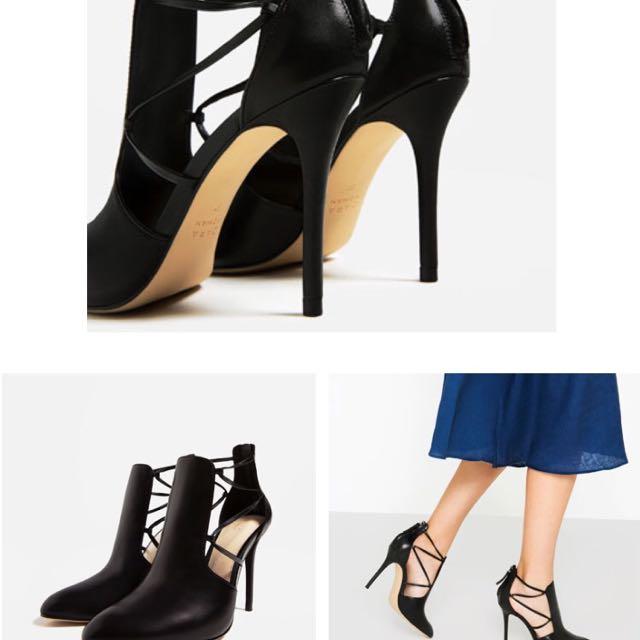 Zara繫帶真皮高跟踝靴 全新僅試穿