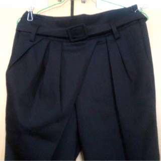 專櫃牌 SO NICE 設計款不對稱黑長褲 附腰帶 Lowrys Farm Jeanasis earth kiki shin