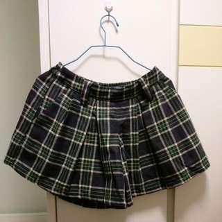 墨綠色格仔半截短裙