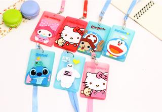 Name tag ID card holder silikon tali gantungan motif kartun - KHM084