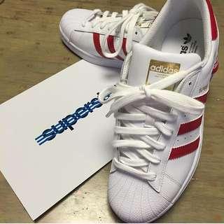Adidas Originals Superstar White Red 愛迪達 紅色 金標 235