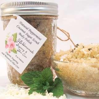 Natural Peppermint Coconut Sugar Scrub Body Polish - 8 Oz