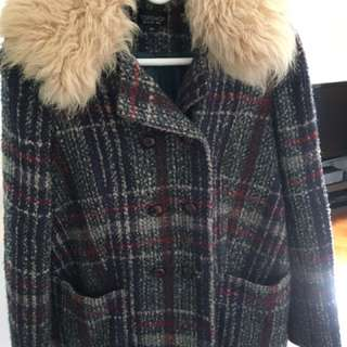 Top Shop Wool Coat With Fur And Elbow Patch