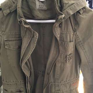 Zara Green Army Jacket With Hood