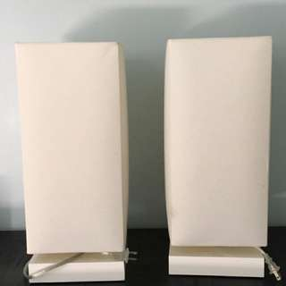 White Modern Bedside Table Lamps (2)
