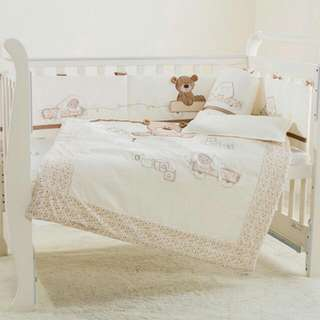 7Pcs Cotton Baby Cot Bedding Set