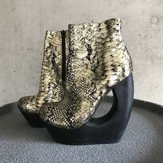 Jeffrey Campbell Gold & Black Wedge Boots