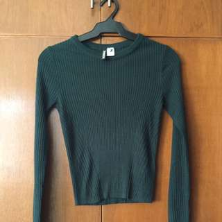 Green Knit Crop Top (Unused From H&M, US Small)