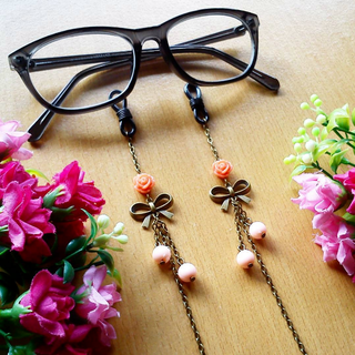 Rantai Kacamata Glasses Strap Vintage Rose Ribbon