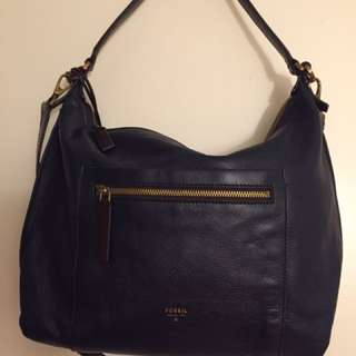 Fossil Leather Vickery Shoulder Bag - Navy Blue