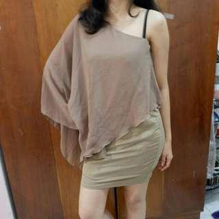 One Shoulder Dress Brown