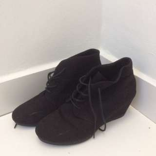 Black Suede High Heel Boots Size 9