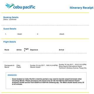 Dumaguete - Manila Plane Ticket (One Way)