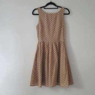 Polka Dot Tan Dress