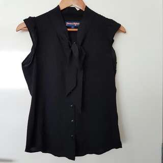 Princess Highway Dangerfield Black Pussybow Button Up Blouse 8