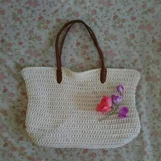 H&M SUMMER / PAPER / STRAW / WOVEN /SHOULDER / TOTE / SHOPPING / BAG / WHITE