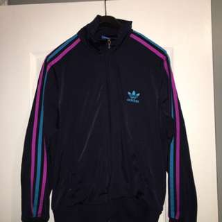black,red and blue Adidas track jacket