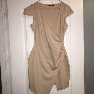 Boohoo Beige Wrap Dress