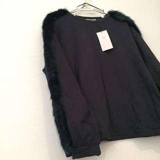 Zara Jumper With Faux Fur Trim