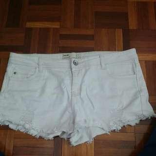 White Denim Shorts Distressed