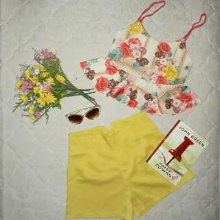 Mid-Rib Floral With High Waist Shorts