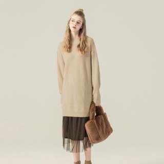 Pazzo冬日暖心小高領長版毛衣