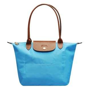 LONGCHAMP S長帶 摺疊款 天空藍 肩背水餃包 (小款)