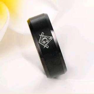 Black Titanium Masonic Rings Size 10