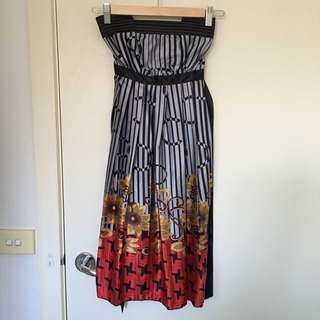 Cocktail Grey Gray Stripes Floral Tube Dress